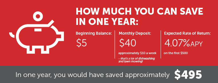 Youth Banking: How much you can save in one year. Beginning balance $5. Monthly deposit $40. Expected rate of return 2.02% APY. In one year, you would have saved approximately $490.