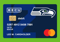BECU debit credit card with seahawks face