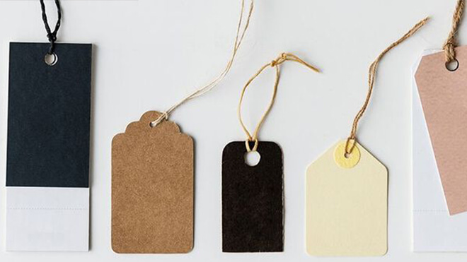 Multiple blank, colorful price tags