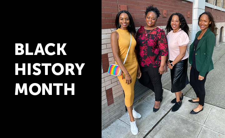 "White text on black background reads ""Black History Month"" next to image of four Black women founders of the Black Future Co-op Fund"