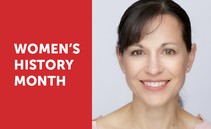 White text on red background reads Women's History Month next to image of a woman's face