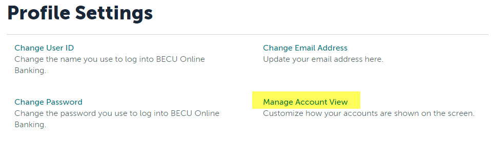 You'll be taken to the Profile Settings screen. Select Manage Account View.